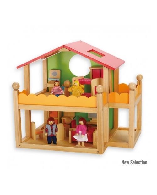 Apstatytas medinis lėlių namas su baldais