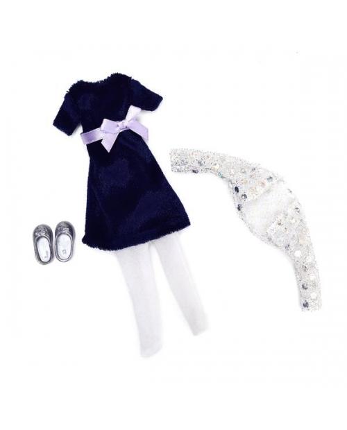 Lottie aksesuarų rinkinys - Mėlyno aksomo puošnių rūbų komplektas