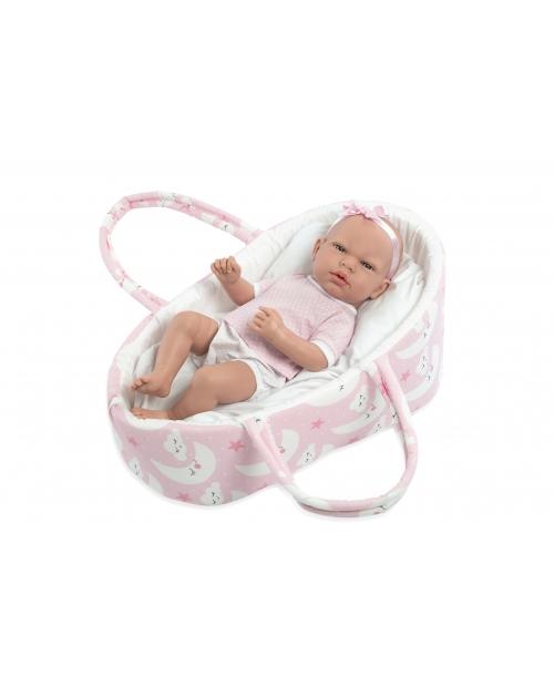 Lėlytė kūdikėlis su rožiniu lopšeliu, 38 cm