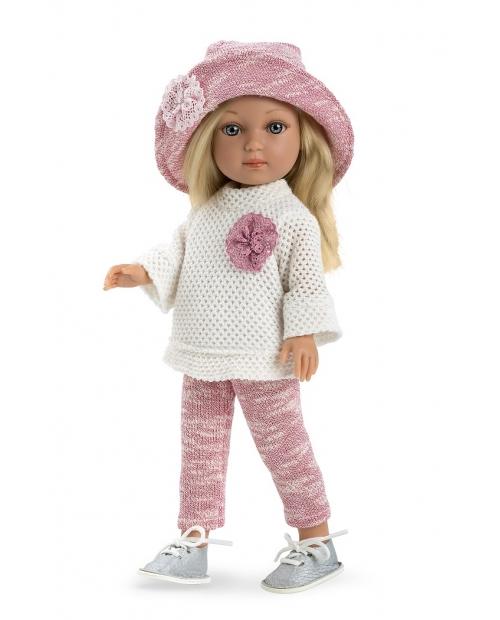 Lėlytė Šarlotė su baltu megztuku, 36 cm