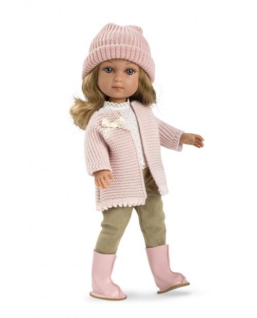 Lėlytė Šarlotė su rožine kepure ir nertiniu, 36 cm