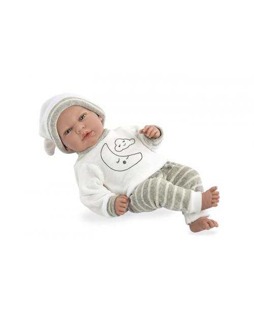 Kalbanti lėlytė su pilkomis kelnytėmis, 40 cm